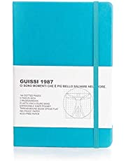 Guissi Classic Dotted Grid Bullet Notebook Journal Dot Hard Cover A5 Premium 100gsm Thick Acid-free Paper with Fine Inner Pocket Faux Leather Office School Supplies 144 Pages Designed in Florence
