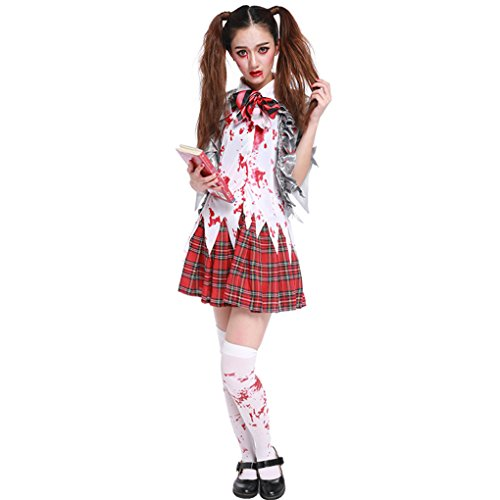 Women Girl Halloween Horror Zombie Bloody High School Student Uniform Costumes Outfits