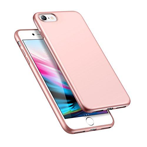 Slim Rose (iPhone 8 Case, iPhone 7 Case, ESR Slim Rose Gold Soft TPU Cover [Slim Fit][Glass Back Safe] for iPhone 8/ iPhone 7 (Rose Gold))