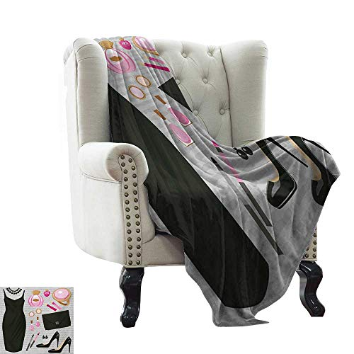LsWOW Throw Blanket for Couch Heels and Dresses,Black Smart Cocktail Dress Perfume Make Up Clutch Bag,Black Pale Pink Pale Brown Warm & Hypoallergenic Washable Couch/Bed Throws 35