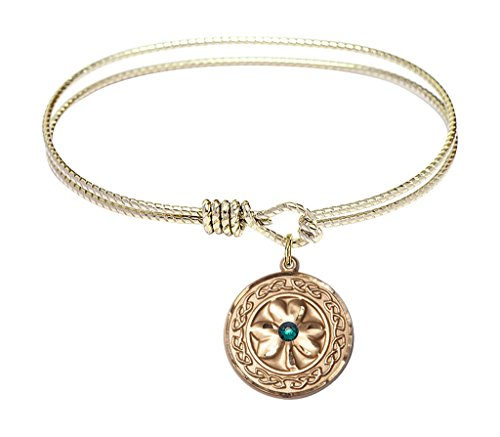 Shamrock w/ Celtic Border-6 1/4 inch Oval Eye Hook Bangle Bracelet with a Shamrock w/ Celtic Border charm.-The charm features a Imitation Emerald - Green - Border Oval Vintage