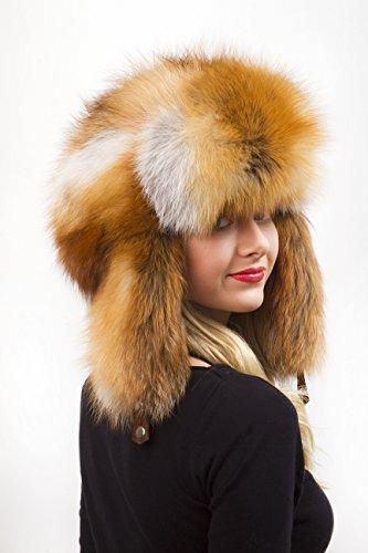 (Natural Red Fox Fur Full Ushanka Hat For Women's 22.5' - 24' - Adjustable)