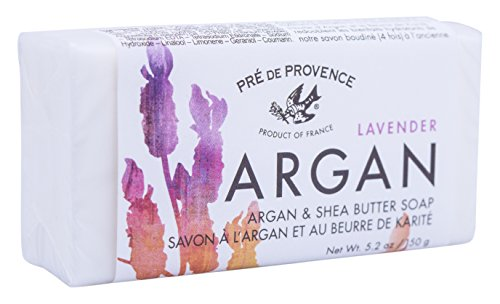 Pre de Provence Moroccan Argan Oil & Shea Butter Quad Milled Soap Bar (150 g) - Lavender (Pre Bar De Provence Soap Moisturizing)