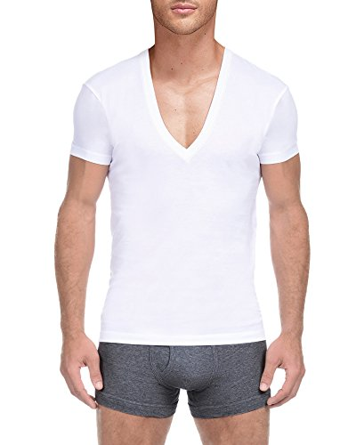 V-neck Deep Undershirt (KalvonFu Men's Cotton Deep V Neck Short Sleeve Classic Solid T Shirt (L, White))