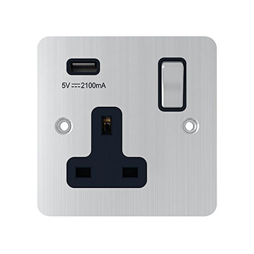 aet usbfsc1gsocbc 13/A 1-Gang Cromo Satinado Soporte de Single Plug Socket Toma de alimentaci/ón USB w//Puerto de Carga USB con Insert Interruptor basculante Negro