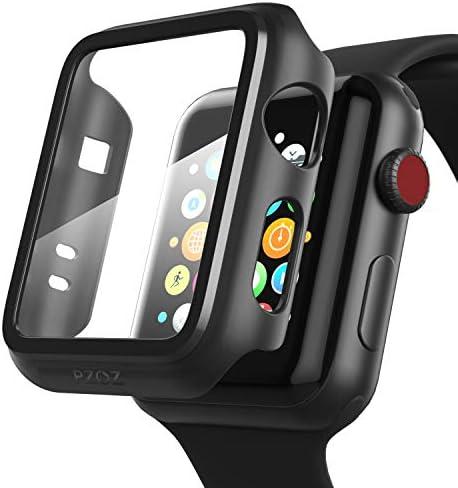 [해외]PZOZ Compatible Apple Watch Series 3  Series 2 CaseScreen Protector 38mm Accessories Slim Guard Thin Bumper Full Coverage Matte Hard Cover Defense Edge for Women Men New Gen GPS iWatch (Black) / PZOZ Compatible Apple Watch Series 3...
