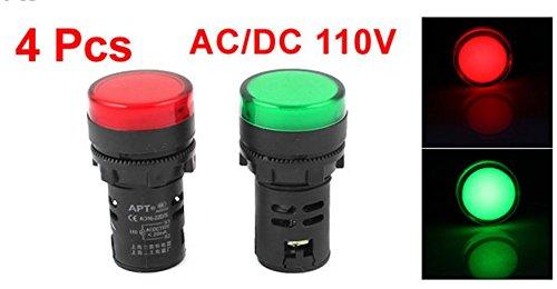 XJS AC/DC110V Red Green LED Indicator Light Pilot Signal Lamp 4 Pcs - Pilot Lights Lamps