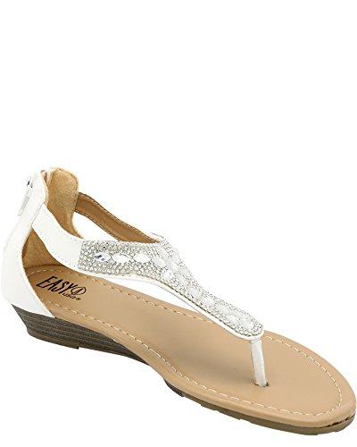Easy Girls T-strass Zip Open Toe Sandal (bimbo / Bimbo Grande) Bianco