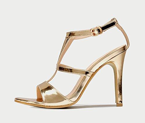 Aisun Damen Lack Kunstleder Offen Zehen T-Spangen Knöchelriemchen Stiletto Sandale mit Schnalle Gold