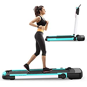 Murtisol 2 in 1 Folding Treadmill,2.25HP Under Desk Electric Treadmill, Installation-Free with APP, Remote Control and LED Display, Portable Walking Machine for Home, Office & Gym