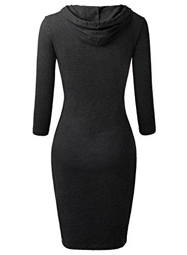 DJT Mujeres Vestido con Capucha Gris Oscuro