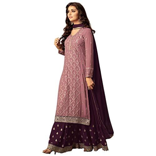 ziya Indian/Pakistani Ethnic wear Georgette Plaazo Salwar Kameez (Light Pink, XXL-46)