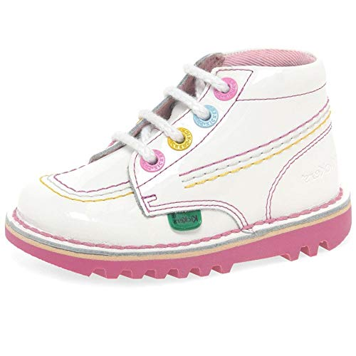 Kickers Kick Hi I White/Pink Patent 10 M US Infant (Kickers White)