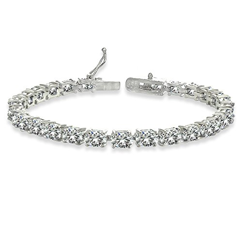 Sterling Silver 6X4mm Created White Sapphire Oval-cut Tennis Bracelet - Oval Cut Sapphire Ring