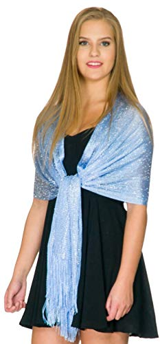 Shawls and Wraps for Evening Dresses, Wedding Shawl Wrap Fringes Scarf for Women Sky Blue Petal Rose