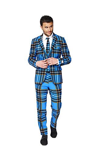 [OppoSuits Mens Braveheart Party Suit - Plaid Crazy Suit] (Braveheart Fancy Dress Costume)