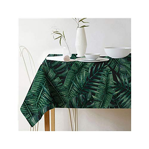 (Pastoral Style Decorative Tropical Plant Leaves Cotton Linen Tablecloth Dining Table Cover for Home Decor,Color 10,6060Cm)