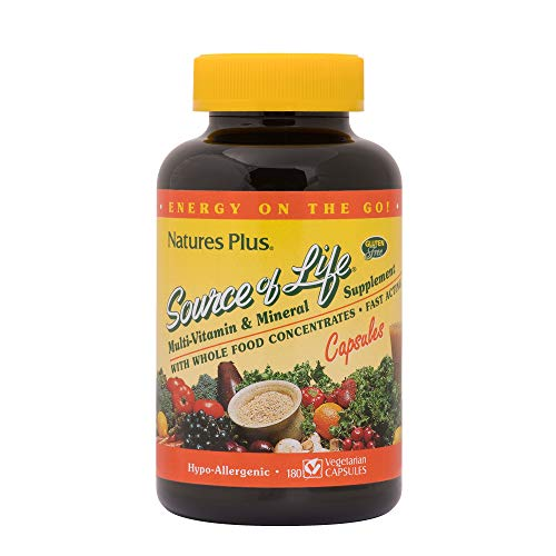 Natures Plus Source of Life - 180 Vegetarian Capsules - Whole Food Multivitamin & Mineral Supplement, Supports General Health, Energy Booster - Gluten Free - 20 Servings ()