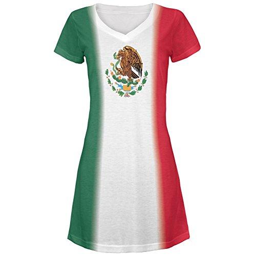 [Cinco De Mayo Mexican Flag All Over Juniors Cover-Up Beach Dress - Medium] (Cinco De Mayo Dress)