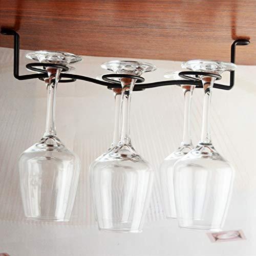 Buytra 2 Pack Under Cabinet Wine Glass Rack Stemware Holder for Home Bar, Holds up to 6 Glasses, Random ()