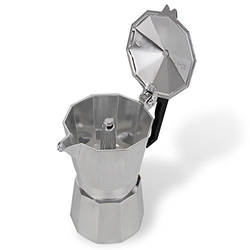 XIHAO Aluminum Stovetop Espresso Coffee Maker Moka Pot (3 Cup, Silver)