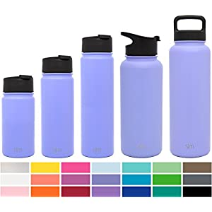 Simple Modern 32oz Summit Water Bottle + Extra Lid - Vacuum Insulated Stainless Steel Wide Mouth Liter Hydro Travel Mug - Powder Coated Beer Flask - Royal Raspberry