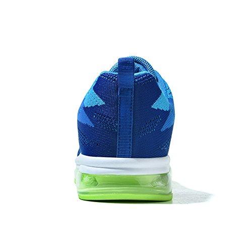 Dexuntong Unisex Atmungsaktiv Lässige Sneakers Leicht Outdoor Laufschuhe Air Sportschuhe mit Dämpfung Luftpolster Sohlen Für Herren Blau2
