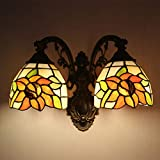 Tiffany Style Wall Sconce Lamp Pastoral Sunflower Stained Glass 2-Arms Wall Lamp Lighting for Bedroom Hallway Stairway Balcony