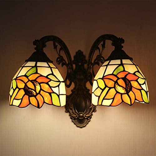 Tiffany Style Panel Plug In - Tiffany Style Wall Sconce Lamp Pastoral Sunflower Stained Glass 2-Arms Wall Lamp Lighting for Bedroom Hallway Stairway Balcony
