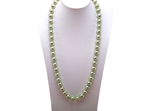 (JYX Pearl Strand Necklace 12mm Long Round Green Seashell Pearl Necklace for Women 28