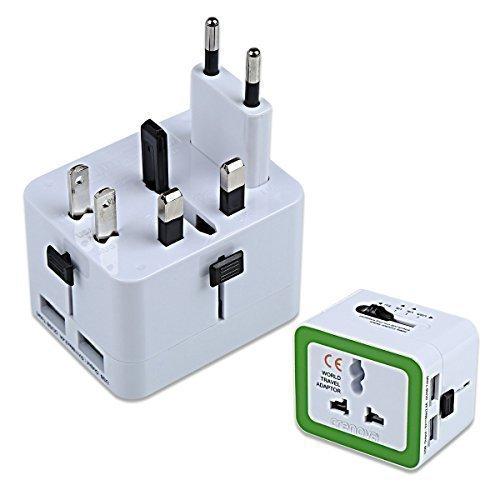 Universeller Reiseadapter USB | Crenova QU-02 Universal Travel Adapter / Welt Adapterstecker mit Dual 2.4A USB Ladeanschluss - Mehr als 150 Länder - US / GB / EU / AU Steckeradapter- Alles in Einem