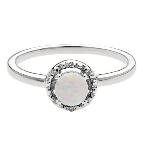 .30 Ct Round Created Opal Diamond Accent Sterling Silver Halo Ring Size (Round Diamond Right Hand Ring)