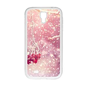 Personalized Clear Phone Case For Samsung Galaxy S4,glam snow trees with red fruit beauty winter scene