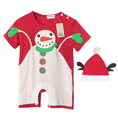 Costume Snowman Pattern (Kiddom Babys Christmas Costumes Santa Clause Snowman Onesie Romper with Hat)