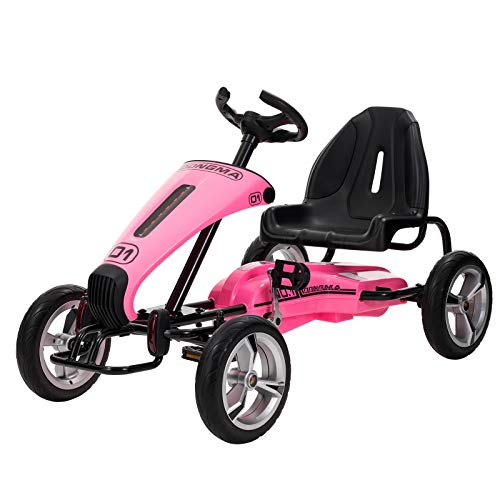 - Uenjoy Pedal Go Kart Pedal Cars with Adjustable Seat, Sports Steering Wheel, Pink