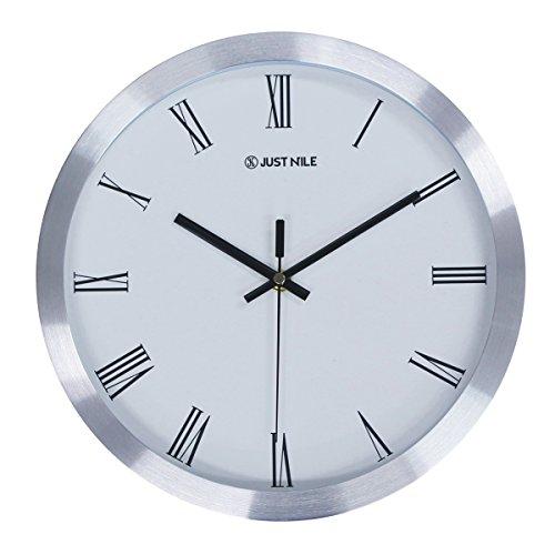 JustNile Minimalist 12-inch Silent Wall Clock - Silver Frame Roman - Roman Numeral Silver Clock