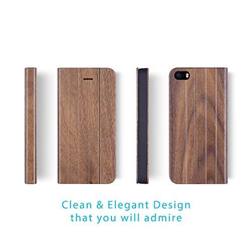 iPhone SE / 5S / 5 Case. iATO Real Wooden Premium Protective Folio flip Book Type Cover. Unique, Stylish & Classy Walnut Wood Accessory for Apple iPhone SE / 5S / 5 by iATO