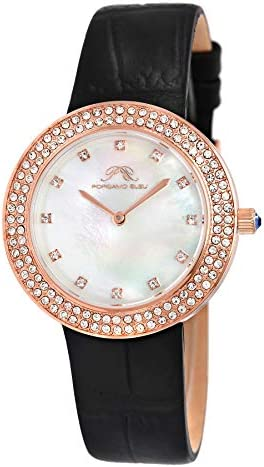 Porsamo Bleu Luxury Larissa Ladies Watch with Stainless Steel case and Black Genuine Leather Band; Rose Tone and Black 891CLAL