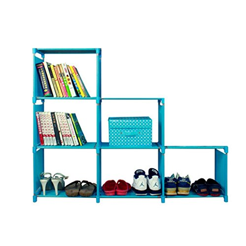 Storage Cabinets ,Hmlai 3-tier Storage Cube Closet Shelf 6-cube Storage Cabinet Space-Saving Storage Unit Asian (blue)