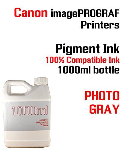(Photo Gray Pigment Ink 1000ml - CANON imagePROGRAF iPF6300, iPF6350, iPF6400, iPF6410, iPF6450, iPF6460, iPF8300, iPF8400, iPF8410, iPF9300, iPF9400, iPF9410 - 100% compatible bottle ink)