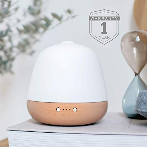 ZEIGGA LAB Essential Oil Diffuser, Ceramic and Real Solid Wood Aromatherapy Humidifier - 180ml, No Beep, 2 Mist Modes, 2-Level Dimmer Night Light, Timer, Auto Off, Long Cord for Home Office Baby Yoga -