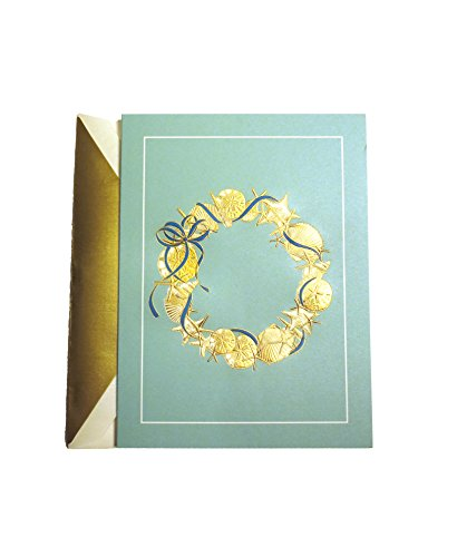 (Single William Arthur Engraved Shell Wreath Greeting Card with Lined Envelope)
