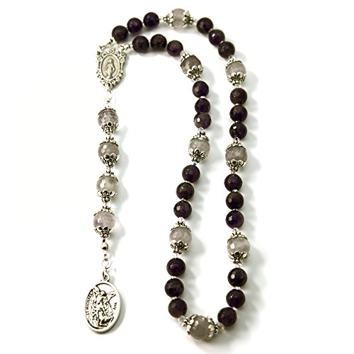 Silver Inches Catholic Prayer Beads Guardian Angel St Michael Chaplet Amethyst Gemstone with Swarovski Beads Blessed with Anointing Oil