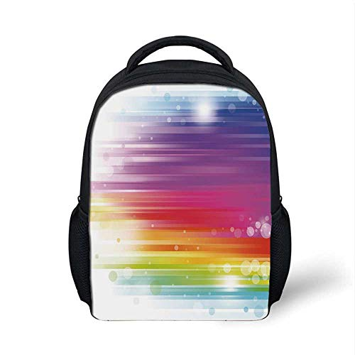Rainbow Stylish Backpack,Abstract Lines in Rainbow Formation with White Circles Movement Depiction Art Print for School Travel,9.4