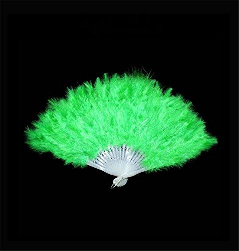 ChangJin 1PCS Halloween Party Dance Feather Fan Various Colors (Green)]()