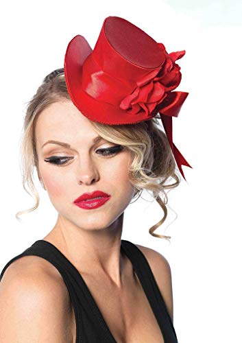 Faerynicethings Mini Satin Top Hat with Flowers and Bow - Red ()