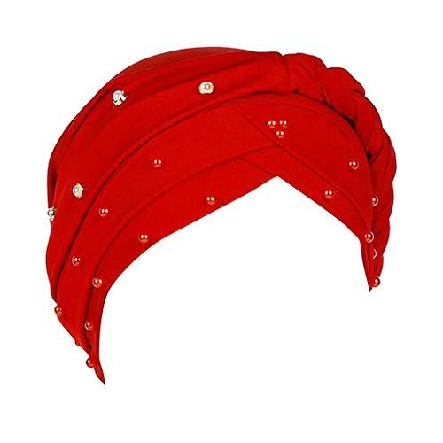 YEZIJIN Women Beading Braid India Hat Muslim Ruffle Cancer Chemo Beanie Turban Wrap Cap 2019 New Red ()