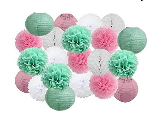 Girls Party Decoration 21pcs Mixed Mint Green Pink White Tissue Pom Poms Paper Lanterns Honeycomb Balls Wedding Baby Shower Birthday Party Room Decoration ()