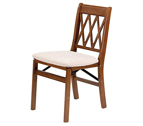 - Premium Stakm Lattice Back Folding Chair Finish, Set of 2, Fruitwood