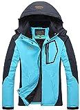 YXP Women's Mountain Waterproof Ski Jacket Windproof Rain Jacket(Moonblue,L)